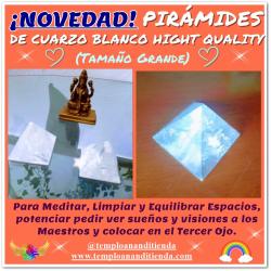 OFERTA PIRÁMIDE DE CUARZO BLANCO HIGH QUALITY DE TAMAÑO PEQUEÑO: ADQUIRIENDO 2 LA 2ª A MITAD DE PRECIO