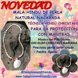 MALA DE SIRENA DE PERLAS NATURALES & ÁGATA AZUL (ROSARIO HINDÚ)
