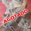 CONJUNTO BAÑADO EN PLATA DEL ÁRBOL DE LA VIDA CON MINERALES