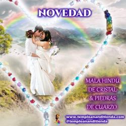 MALA HINDÚ DE CRISTAL & PIEDRAS DE CUARZO