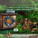 CONJUNTO DE PULSERAS NEGRO Y GRIS CON PERLAS