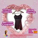 VESTIDO-CAMISETA BRILLANTE MUY FEMENINO EN COLOR GRANATE