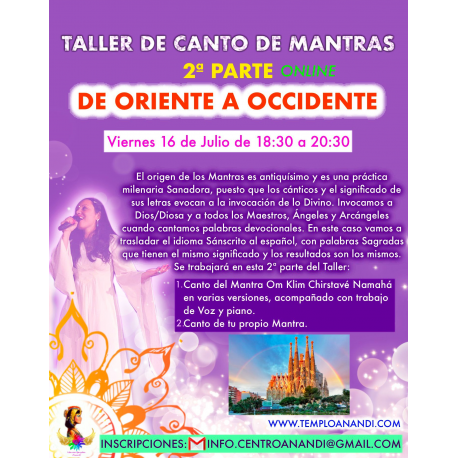 TALLER DE CANTO DE MANTRAS 2ª PARTE