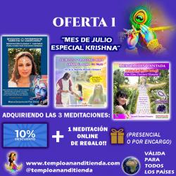 """PACK 3 MEDITACIONES """"MES DE JULIO ESPECIAL KRISHNA"""" AL -10% DTO + 1 MEDITACIÓN PERSONALIZADA ONLINE O POR ENCARGO DE REGALO!"""