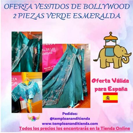 VESTIDO DE BOLLYWOOD 2 PIEZAS COLOR VERDE ESMERALDA