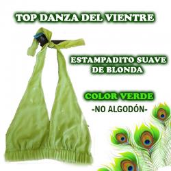 TOP DANZA DEL VIENTRE CON ESTAMPADITO SUAVE DE BLONDA EN COLOR VERDE