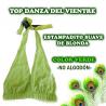 TOP DE DANZA DEL VIENTRE CON ESTAMPADITO SUAVE DE BLONDA EN COLOR VERDE