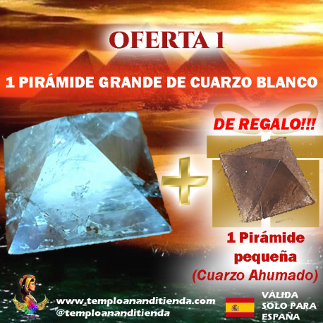 1 PIRÁMIDE DE CUARZO BLANCO en tamaño GRANDE + 1 PIRÁMIDE DE CUARZO AHUMADO en tamaño pequeño DE REGALO!