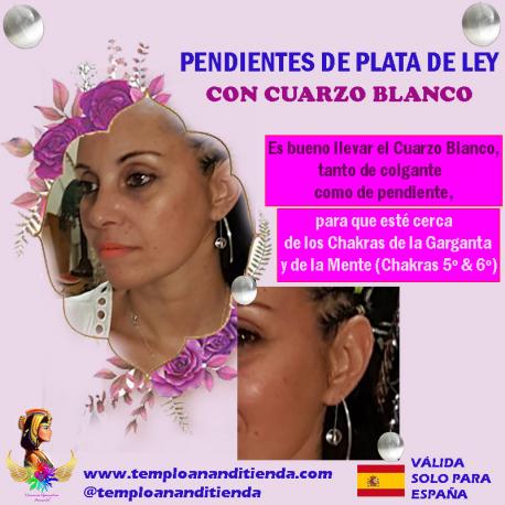 PENDIENTES DE PLATA DE LEY CON CUARZO BLANCO