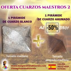 1 PIRÁMIDE DE CUARZO BLANCO en tamaño mediano + 1 PIRÁMIDE DE CUARZO AHUMADO en tamaño pequeño-mediano AL -50% DTO!