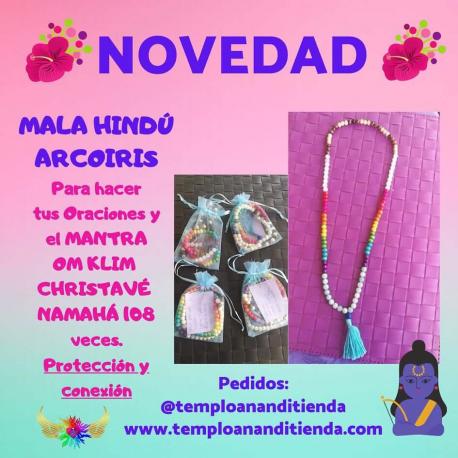 NOVEDAD MALA HINDÚ ARCO IRIS PARA HACER TUS ORACIONES Y EL MANTRA OM KLIM CHRISTAVÉ NAMAHÁ