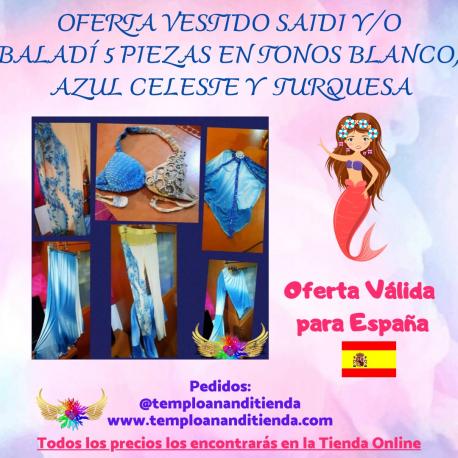CONJUNTO VESTIDO SAÍDI Y/O BALADI 5 PIEZAS