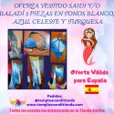 CONJUNTO VESTIDO SAÍDI Y/O BALADI 5 PIEZAS EN TONOS BLANCO Y AZUL CELESTE