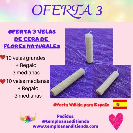 OFERTA DE VELAS DE CERA DE FLORES NATURALES 10  VELAS GRANDES + 3 VELAS MEDIANAS DE REGALO
