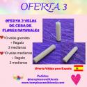 OFERTA DE VELAS DE CERA DE FLORES NATURALES 10 VELAS MEDIANAS + 3 VELAS PEQUEÑAS DE REGALO